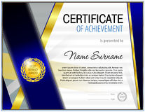 Certificta blank tenplate. With hard vintage frame border, ribbons and floral elements Stock Photo