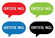 CERTIFIE MAIL text, on rectangle speech bubble sign. Stock Photo
