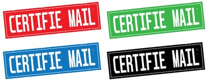 CERTIFIE MAIL text, on rectangle stamp sign. Stock Images