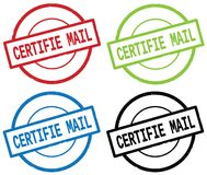 CERTIFIE MAIL text, on round simple stamp sign. Royalty Free Stock Photography