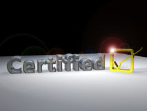 Certified 3D Text Royalty Free Stock Photography