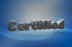 Certified 3D Text Techno. Certified text with tech background presentation use Stock Image