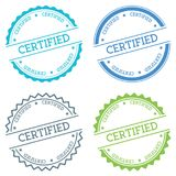Certified badge isolated on white background. Flat style round label with text. Circular emblem vector illustration Royalty Free Stock Images