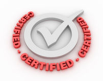 Certified Check Mark. Three dimensional illustration of Check Mark with Certified Word Royalty Free Stock Image
