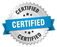 Certified 3d silver badge. With blue ribbon Stock Photography