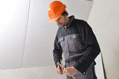 Certified electrician worker Stock Photography