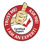 Certified expert - Ask me, trust me! Round badge, also for print. I`m an expert. Do you have a problem? Leave it to me - grunge green stamp, also for print vector illustration