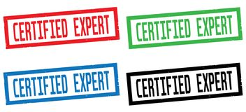 CERTIFIED EXPERT text, on rectangle border stamp sign. Stock Photos