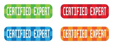 CERTIFIED EXPERT text, on rectangle, zig zag pattern stamp sign. Royalty Free Stock Photo