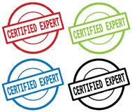 CERTIFIED EXPERT text, on round simple stamp sign. Royalty Free Stock Photo