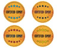 CERTIFIED EXPERT text, on round wavy border vintage, stamp badge Royalty Free Stock Photo