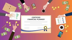 Certified financial planner certification paper with team work together on top of table. Vector graphic illustration Royalty Free Stock Image