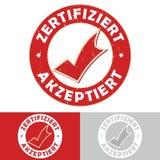 Certified: German - Zertifiziert / akzeptiert rubber stamp. Certified, accepted: German - Zertifiziert, akzeptiert - German language  rubber stamp / label with Royalty Free Stock Photos