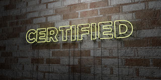 CERTIFIED - Glowing Neon Sign on stonework wall - 3D rendered royalty free stock illustration Stock Photos