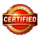 Certified guarantee golden label with ribbon. Royalty Free Stock Photography
