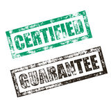 Certified, Guarantee stamp. Vintage rubber ink seal print Stock Image