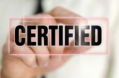 Certified icon. On virtual screen Stock Photos