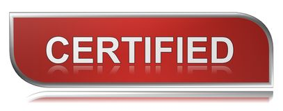 """Certified. An illustration of a red label with the text """"certified Royalty Free Stock Photos"""