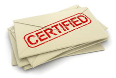 Certified letters  (clipping path included) Stock Photography