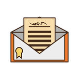 Certified mail envelope isolated icon Royalty Free Stock Image