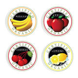 Certified Organic fruit stamp set Royalty Free Stock Image