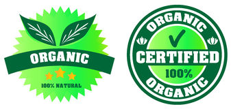 Certified organic label. Certified organic products label. 100% natural stock illustration