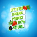 Certified Organic Product 100 percent Natural. Promotional advertising poster vector design on a textured blue bokeh background with fresh strawberries and Stock Images