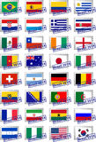 Certified postage stamps with flags Stock Photography