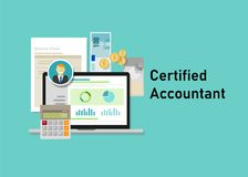 Certified accountant CA paper calculator laptop with people business smile. Business concept of accountant education Stock Photos