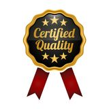 Certified quality badge on white background. Certified quality medal badge on white background. Vector illustration Royalty Free Stock Photo