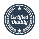 Certified quality badge on white background. Vector illustration royalty free illustration