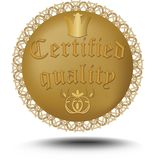 Certified quality emblem in gold design with royal crown and art deco ornamental motif Stock Photography