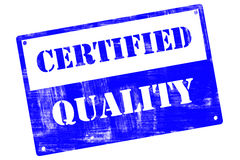 Certified Quality, plate, illustrated with grunge textures Stock Photos