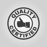 The certified quality and thumbs up icon. Approval, approbation, certification, accepted symbol. Flat. Vector illustration stock illustration