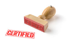 Certified. A rubber stamp on a white background - Certified stock images