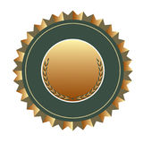 Certified shield. In green and gold Stock Photo