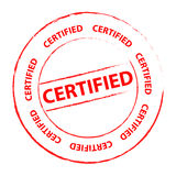 Certified stamp. An ink stamp with the text Certified royalty free illustration