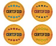 CERTIFIED text, on round wavy border vintage, stamp badge. Royalty Free Stock Photography