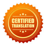 Certified translation gold seal Stock Photography