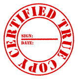 Certified True Copy Red Stamp Effect Stock Photo