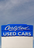 Certified Used Car Sign Royalty Free Stock Images