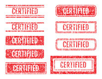Certified Word Rubber Stamps Grunge Style Set Royalty Free Stock Photography