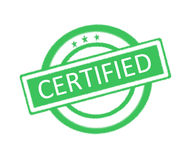 Certified word written on green rubber stamp Stock Image