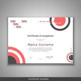 Certifikat av avslutning - gillande, prestation, avläggande av examen, diplom eller utmärkelse med den roliga geometriska scandin Arkivfoton
