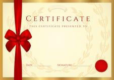 Certifikat/diploma mall med den röda pilbågen royaltyfri illustrationer
