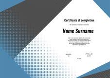 Certifikat av avslutning Malldesign med modern geometriformbakgrund Certifikat av gillande, diplom vektor illustrationer