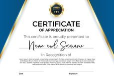 Certifikat av gillande eller prestationen med utmärkelseemblemet Högvärdig vektormall för utmärkelser och diplom stock illustrationer