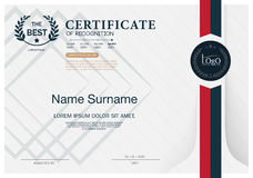 Certifikat AV mallen för orientering för mall för ERKÄNNANDEramdesign i formatet A4 Arkivfoton