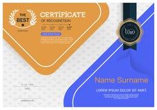 Certifikat av mallen för orientering för mall för prestationramdesign i formatet A4 Royaltyfri Bild