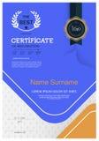 Certifikat av mallen för orientering för mall för prestationramdesign i formatet A4 Fotografering för Bildbyråer